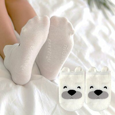 2-4 Y White Dog Baby Newborn Infant Ankle Socks Toddler Kids Soft Cotton Socks
