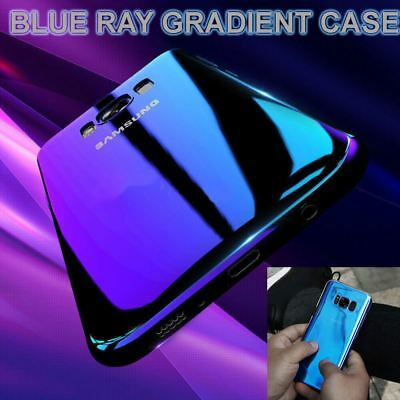 Blu Ray Gradient Colour Mirror Hard Back Case Cover For Samsung Galaxy S7 S8 S9+