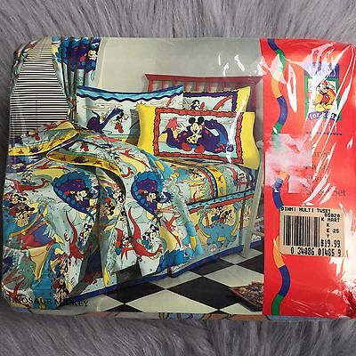 Vtg NEW Deadstock Disney Mickey Mouse Dinosaur Twin Flat Fitted Sheet Set