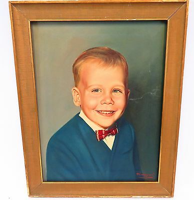 1940's 50's OIL ON CANVAS painting PORTRAIT of a BOY signed