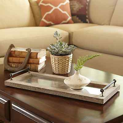 Rustic Williamsburg Serving Tray Coffee Table Centerpiece Wood Metal Decor Brown