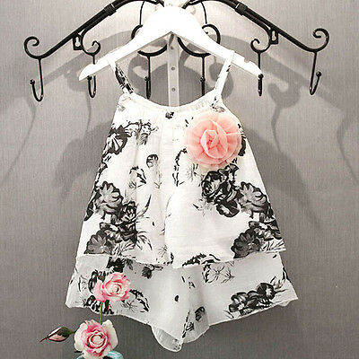 Toddler Kids Baby Girl Outfits Sleeveless T-shirt Tops + Pants Clothes Set Suit