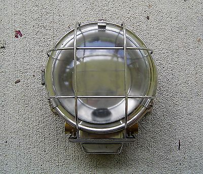 Vintage Stainless Steel Industrial Ship's Ceiling Light Rewired (Lot G)