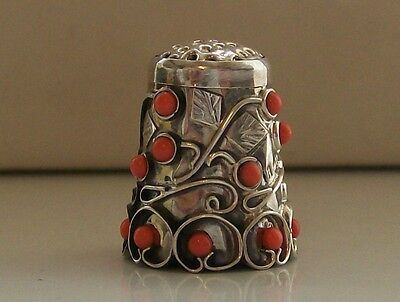 Wonderful 925 Sterling Silver Thimble with 16 Cobachon Stones