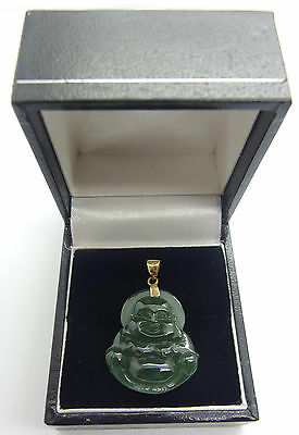 14k Solid Gold 585 Handcrafted Jade Natural jadeite Pendant Buddha carving #8