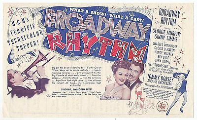 "Usa Printed Movie Herald- ""broadway Rhythm""-George Murphy-Ginny Simms-Lena Horne"