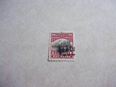 COOK ISLANDS STAMP SG 82a ROW 5 # 2 DOUBLE DERRICK WITH PACKET BOAT CANCEL