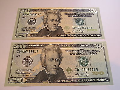 2006 United States US 20$ Dollar Banknote Consecutive Crispy and uncirculated
