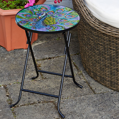 Small Folding Bistro Table Garden Patio Round Glass Top Collapsible Outdoor Side