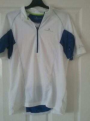 mens RONHILL cycling top size M white blue