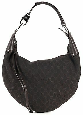 GUCCI Authentic Brown GG Monogram Canvas Hobo Shoulder Bag