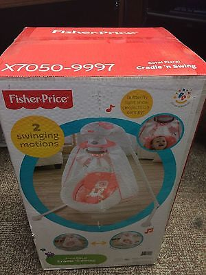 FISHER PRICE CRADLE 'N SWING Baby Girl Coral Floral Toys Music Plug In Option