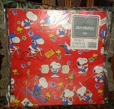 Vintage Snoopy Peanuts Wrapping Paper Gift Wrap New Sheets Red Sports Ski Bday