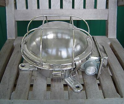 Vintage Stainless Steel Industrial Ship's Ceiling Light Rewired (Lot H)