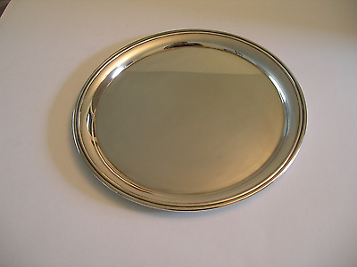 """LUNT Silversmiths 12"""" Round PLATTER Serving DISH or Tea TRAY Salver Made in USA"""