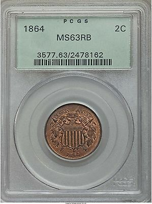 1864 2C Two Cent Piece Large Motto Red Brown Uncirculated PCGS MS 63 RB