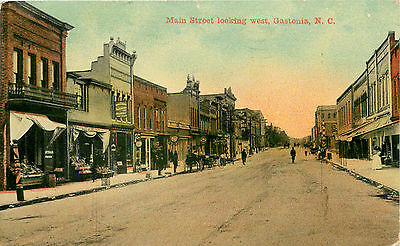 Main Street looking West ~GASTONIA - NORTH CAROLINA~ Great Early View, 1911