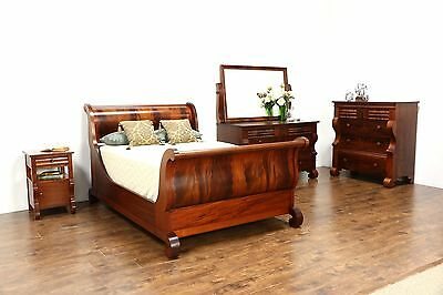 Empire Antique 4 Pc. Bedroom Set, Full Size Sleigh Bed, Signed Berkey & Gay