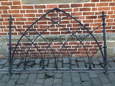 Cast Iron Gothic Arch Antique Bedhead And Foot Original Heavy Vintage Beautiful