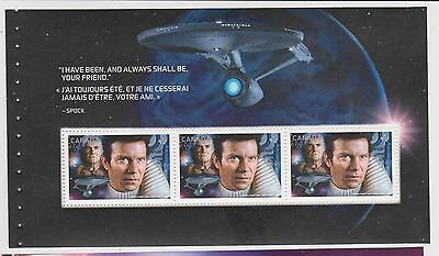 2017 Canada Star Trek Captain Kirk 3 Stamps Perm Rare Unique Souvenir Sheet