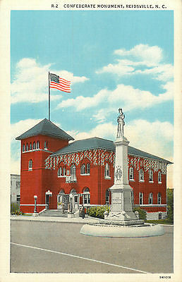 Confederate Monument ~REIDSVILLE - NORTH CAROLINA~ Great Old Postcard, c. 1935