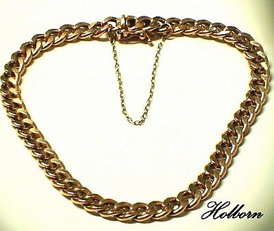 Ladies 9ct Gold Curb Link Chain Bracelet, Safety Catch n Chain, 7 3/4 inch, 5mm.