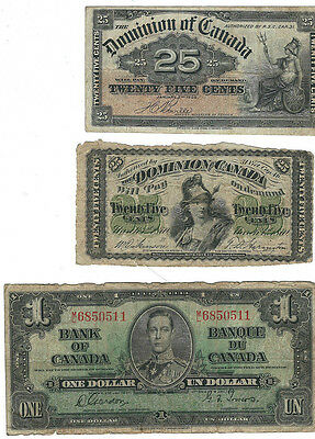 Canada 1870 and 1900 25c Bank Notes And 1937 $1 Bank Note