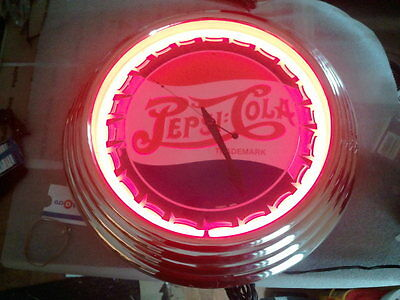 retro look red neon pepsi clock new movement. works fine mancave game room