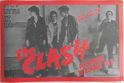 Original 1978 The Clash AU Stadium C.B.S French Concert Promotional Poster