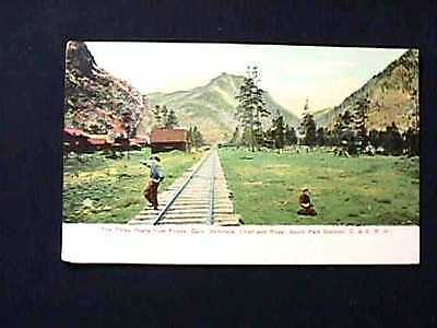 The Three Peaks From Frisco, Colo. Witchata, Chief & Royal C&s Railroad Postcard