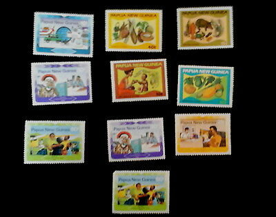 Papua New Guinea World Communication Year 1983 & Food Series (4 of each)