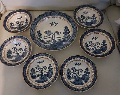 Booths REAL OLD WILLOW 7 Piece Dessert Set