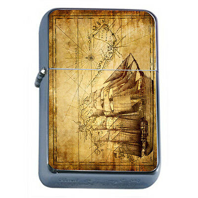 Vintage Pirate Ship D5 Windproof Dual Flame Torch Lighter Refillable
