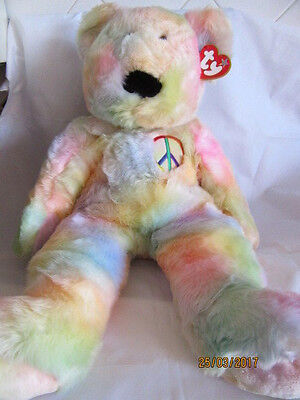 "Ty Beanie 30"" Extra Large Buddy Peace Tye - Dye Bear - Retired With Tag"