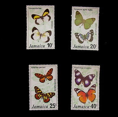 Buterflies of Jamaica Set of 4 Stamps,  Lightly Hinged