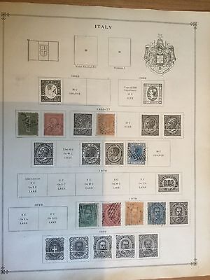 Page of early Italian Italy Stamps Album Page Two Sides 1863-1920 m17