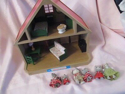 Vintage Sylvanian Family Dolls House With Green Furniture And Animals
