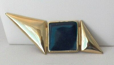 An Outstanding Yellow Gold Tone Brooch With 2 Triangles & Blue Enameled Square