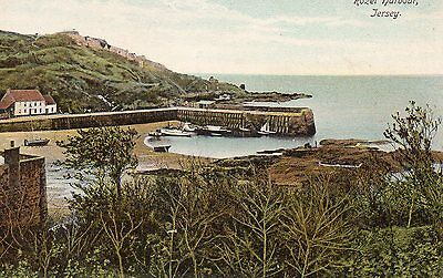 OLD WOODBURY POSTCARD CIRCA 1900's - JERSEY - ROZEL HARBOUR