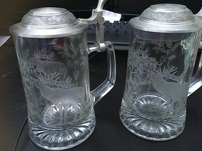 Heavy Glass Tankard With Pewter Lid