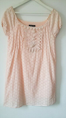 New Women Summer Baby Pink Lace Floral Detail Tunic Mini  Dress Size L UK 12-14