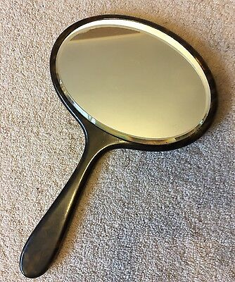 Vintage Retro Art Deco Brown Mottled Bakelite Oval Bevelled English Hand Mirror