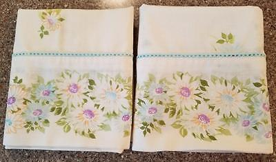 Vintage Pair Cannon Monticello Pillowcases Floral FREE USA SHIPPING