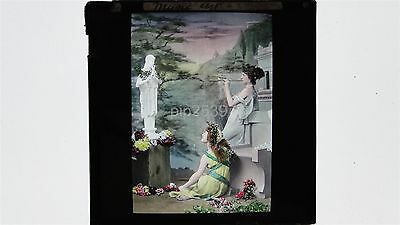 Women Dressed In A Togas Playing Flute - Hand Tinted Magic Lantern Slide