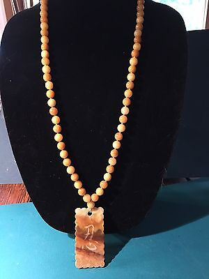 Magnificent Yellow Jade 10mm Bead Necklace With A Prosperous Future Amulet