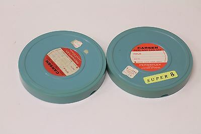 Lot of 2 Carsen Permaflex 5 Inch Reel and Can Set for 8 and Super 8 Film.