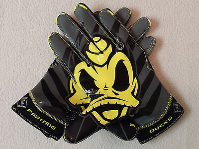 Oregon DUCKS Nike TEAM ISSUED Promo Player Exclusive FOOTBALL GLOVES Men's L
