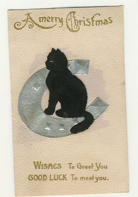 LUCKY BLACK CAT postcard - posted 1910 - A MERRY CHRISTMAS
