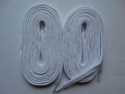 2 Pairs Laces thick flat 150cm white - Canvas Trainer Skate Shoes Converse #