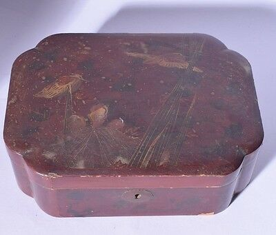 chinese lacquer box & cover - chinese lacquerware - chinese box - antique box